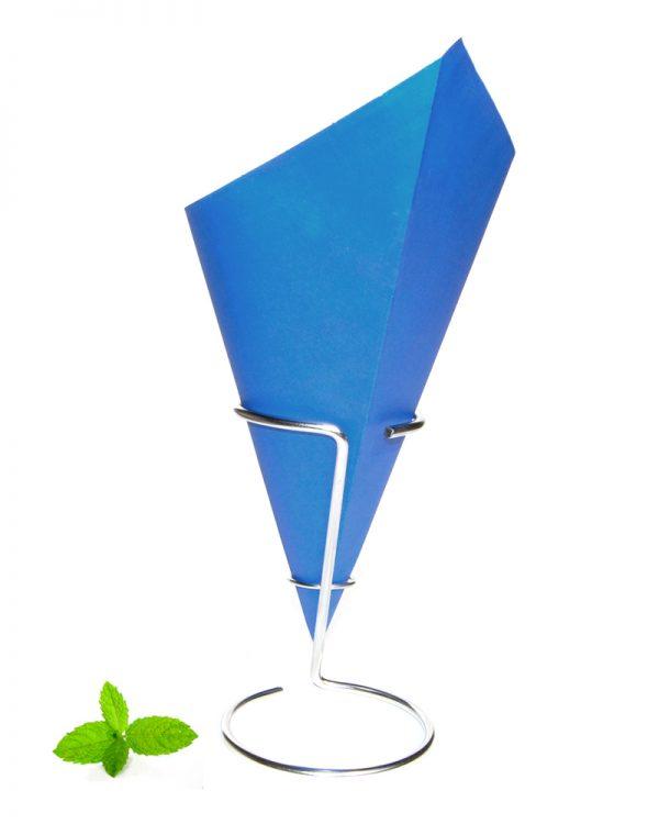 Puntzak papier, blauwe frietzak