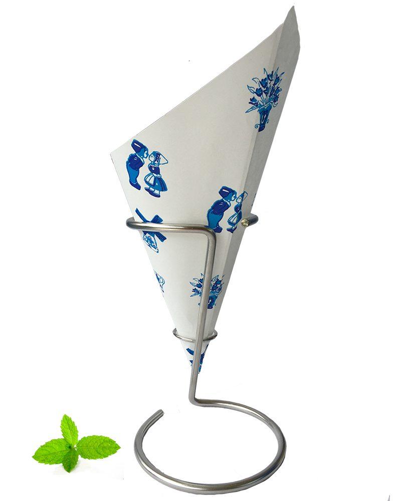 Puntzak papier Frietzak, Delfts Blauw